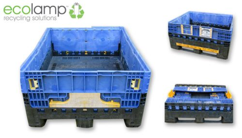 Used Half Height Folding Magnum Box M25, WEEE waste compliant storage solutions, recycling flourescent lamp storage ecolamp
