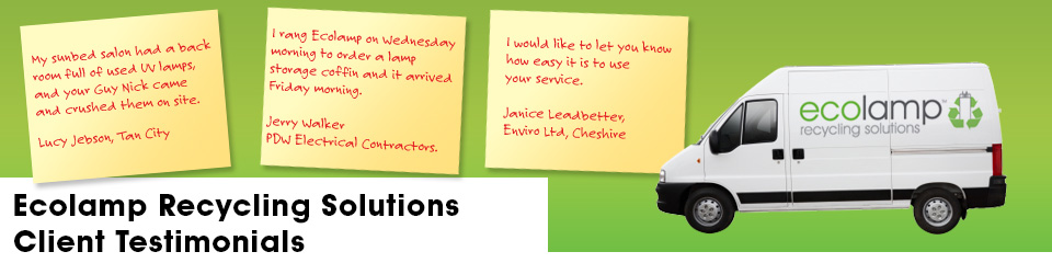 testimonials ecolamp recycling solutions warrington fluorescent tube recycling, fluorescent tube collection service